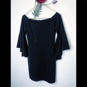 She + Sky   LBD Boatneck Bell-sleeve Sheath Dress